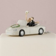 Cake topper sposi in macchina