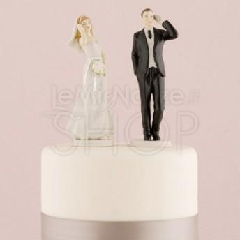 Cake topper sposi al cellulare