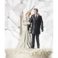 Cake topper con sposi in inverno