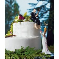 Cake topper con sposa presa all'amo