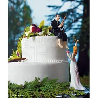 Cake topper con sposa presa all'amo