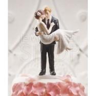 Cake topper con sposa in braccio allo sposo