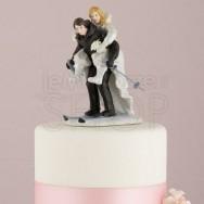 Cake topper sposi sulla neve
