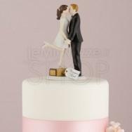 Cake topper sposi in viaggio con bacio