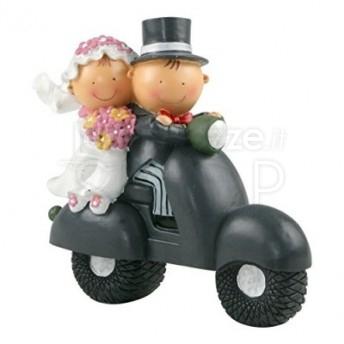 Cake topper sposi in vespa