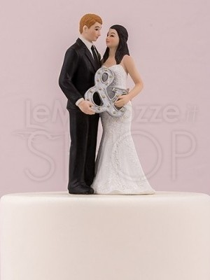 Cake topper con sposi Mr. & Mrs.
