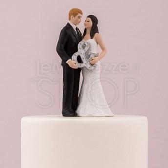 Cake topper con sposi Mr. & Mrs.