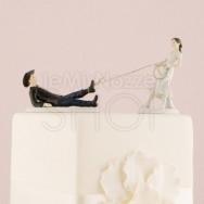 Cake topper sposi con sposo preso al cappio
