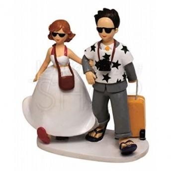 Cake topper sposi in luna di miele