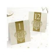Segnatavolo in carta vintage avorio e oro num da 1 a 12