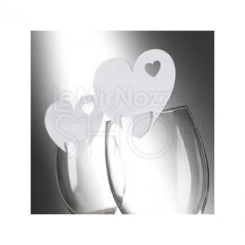 Segnaposto da bicchiere a forma di cuore bianco 10 pezzi