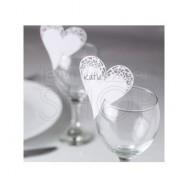 10 Segnaposto da Bicchiere in Carta Graphic Heart White