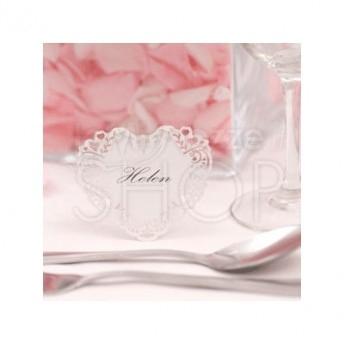 Segnaposto vintage a cuore bianco 10 pezzi