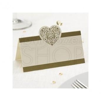 Segnaposto in carta con cuore vintage avorio e oro 50 pezzi