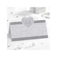 Segnaposto in carta con cuore vintage bianco e argento 50 pezzi