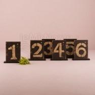 6 segnatavolo numerati stile country - numeri da 13 a 18