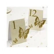 Segnatavolo in carta con farfalla avorio e oro num da 1 a 12