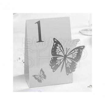 Segnatavolo in carta con farfalla bianco e argento num da 1 a 12