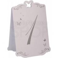 Segnatavolo in carta argento con farfalle numeri da 1 a 12