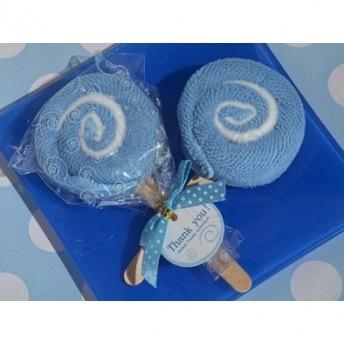 Asciugamano a forma di lecca lecca azzurro
