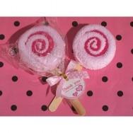 Asciugamano a forma di lecca lecca rosa
