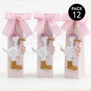 Calamita a forma di cicogna rosa con 5 confetti - 3 pezzi
