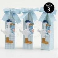 Calamita a forma di cicogna blu con 5 confetti - 3 pezzi