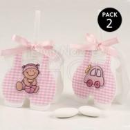 Sacchettino a quadretti rosa con 3 confetti - 2 pezzi