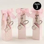 Portachiavi in metallo a forma di ciuccio rosa con confetti