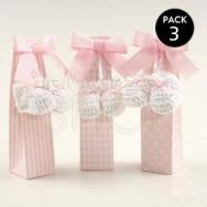 Scarpina uncinetto rosa con 5 confetti cioccolato