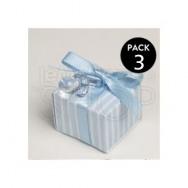 Ciuccio azzurro con scatolina + 3 confetti
