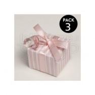 Ciuccio rosa con scatolina + 3 confetti