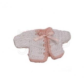 Maglioncino all'uncinetto rosa e bianco 12 pezzi