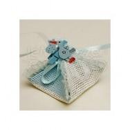 Portaconfetti in rafia con cicogna azzurra e 3 confetti