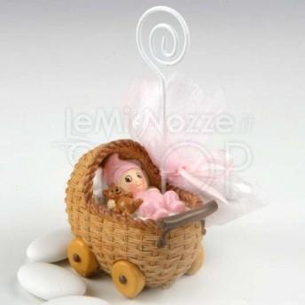 Bomboniera con bimba in culla con 3 confetti