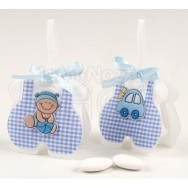 Sacchettino azzurro con bebè e macchinetta 3 confetti
