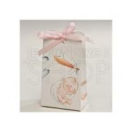 Scatolina con cicogna e bimba + confetti