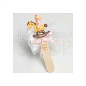 Segnalibro bimba a cavallo con 3 confetti