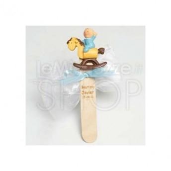 Segnalibro bimbo a cavallo con 3 confetti