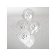 Palloncini 25° anniversario bianco e argento 8 pezzi