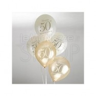 Palloncini 50° anniversario avorio e oro 8 pezzi