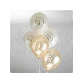 Anniversario Matrimonio 50 Anni.Palloncini Per Anniversario 50 Anni Di Matrimonio Avorio E Oro 8 Pezzi