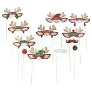 Mascherine per foto divertenti serie renna Natale 12 pezzi