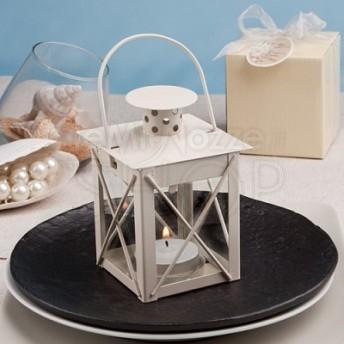 Piccola lanterna in vetro, colore bianco