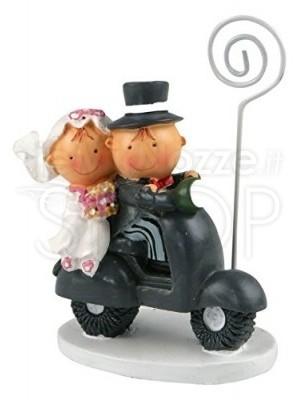 Segnaposto a forma di sposini in moto
