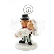 Segnaposto a forma di sposa in braccio allo sposo