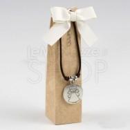 Braccialetto in cuoio con medaglia angelo e 2 cioccolatini