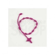 Braccialetto rosario in macramè fucsia