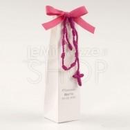 Bomboniera per comunione braccialetto fucsia con rosario con 2 cioccolatini