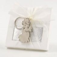 Portachiavi in metallo a forma di angelo con 2 cioccolatini